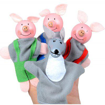 4 Pcs Pigs Wolf Baby Educational Animals Finger Puppets