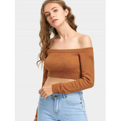 Off Shoulder Cropped Pullover SweaterSweaters &amp; Cardigans<br>Off Shoulder Cropped Pullover Sweater<br><br>Collar: Off The Shoulder<br>Material: Acrylic, Cotton, Polyester<br>Package Contents: 1 x Sweater<br>Pattern Type: Solid<br>Sleeve Length: Full<br>Style: Fashion<br>Type: Pullovers<br>Weight: 0.2700kg