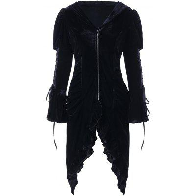 Lace Up Flounced Ruched Hooded Coat