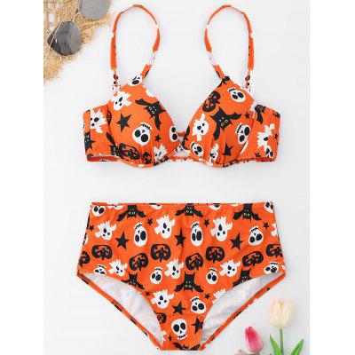 Buy COLORMIX 2XL Halloween Ghost Underwire Bikini Set for $19.80 in GearBest store
