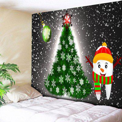 Christmas Tree Snowman Print Wall Art Tapestry