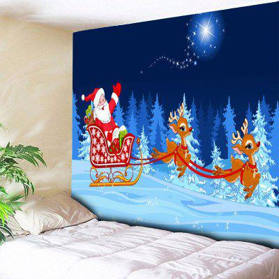 Christmas Sled Santa Claus Print Wall Art Tapestry