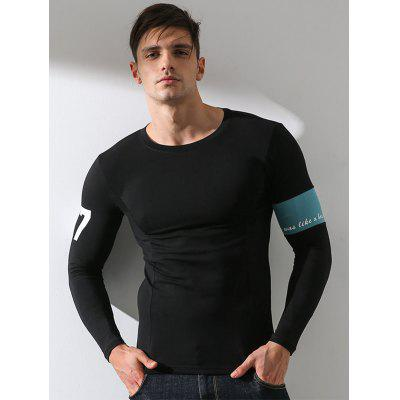 Crew Neck Stretchy Fitted Warmth Graphic Print T-shirt