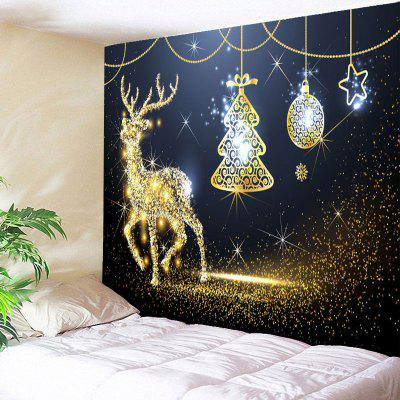 Christmas Elk Tree Ball Star Print Wall Tapestry
