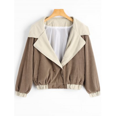 Snap Button Lapel Collar Jacket with Pockets