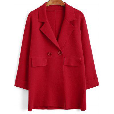 Button Up Curled Sleeve Knitting Coat
