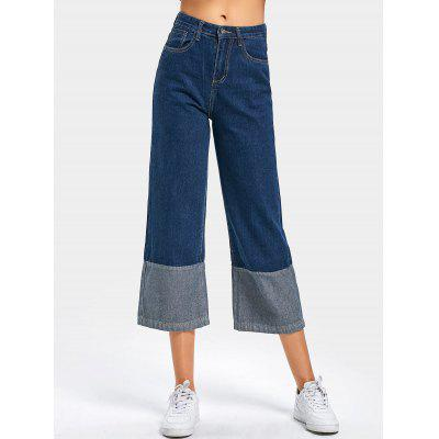 Buy DEEP BLUE L High Waisted Contrast Wide Leg Cropped Jeans for $28.43 in GearBest store