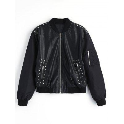 Rivet Embroidered Faux Leather Jacket