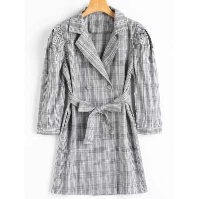 Lapel Collar Belted Checked Coat with Pockets