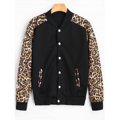 Snap Button Leopard Graphic Bomber Jacket