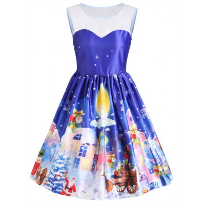 Buy BLUE XL Christmas Gaphic Sleeveless Lace Panel Vintage Dress for $25.91 in GearBest store