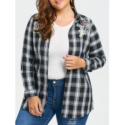 Plus Size Embroidered Checked Flannel Shirt