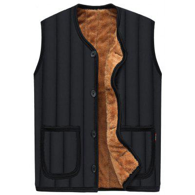 Buy BLACK 4XL Button Up Flocking Padded Vest for $24.96 in GearBest store