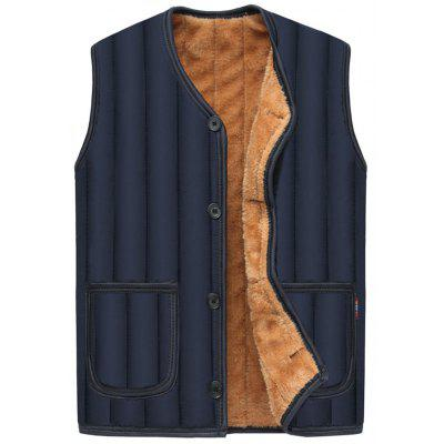 Buy PURPLISH BLUE 3XL Button Up Flocking Padded Vest for $24.96 in GearBest store