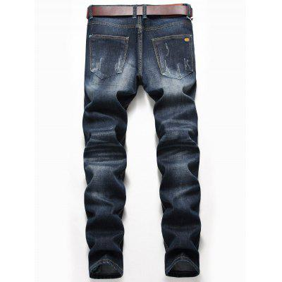 Zip Fly Whisker Design Distressed Jeans pepe jeans pm503552 580