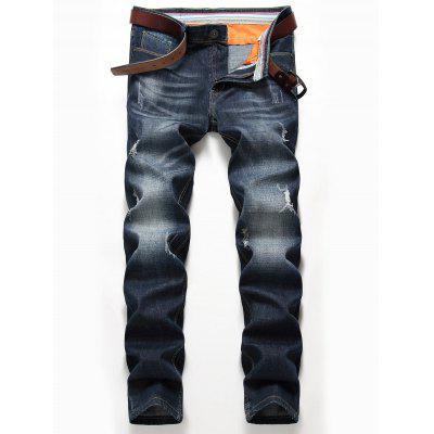 Zip Fly Whisker Design Distressed Jeans