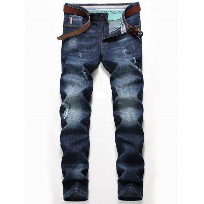 Whisker Pattern Distressed Faded Jeans