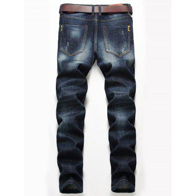 Zip Fly Distressed Jeans with Straight Leg pepe jeans pm503594 203
