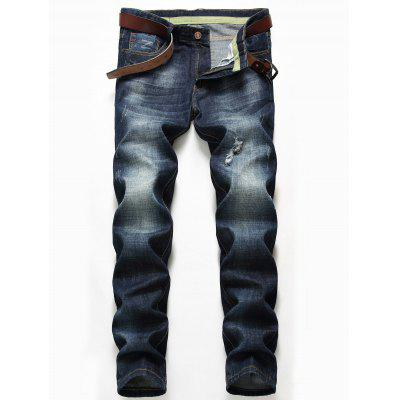 Zip Fly Distressed Jeans with Straight Leg