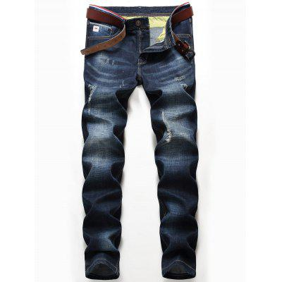 Zip Fly Whisker Pattern Distressed Jeans