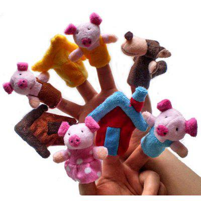 8Pcs Classic Story The Three Little Pigs Finger Puppet