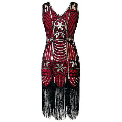 Buy RED L V Neck Sequined Fringed Midi Party Dress for $41.03 in GearBest store
