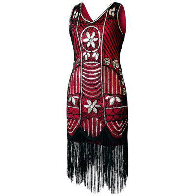 V Neck Sequined Fringed Midi Party DressBodycon Dresses<br>V Neck Sequined Fringed Midi Party Dress<br><br>Dresses Length: Mid-Calf<br>Embellishment: Sequins,Tassel<br>Material: Polyester<br>Neckline: V-Neck<br>Package Contents: 1 x Dress<br>Pattern Type: Patchwork<br>Season: Fall, Spring<br>Silhouette: Bodycon<br>Sleeve Length: Sleeveless<br>Style: Gorgeous<br>Weight: 0.4500kg<br>With Belt: No