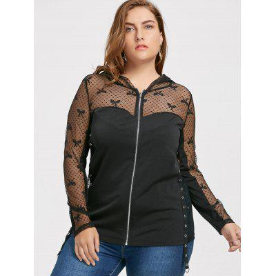 Mesh Panel Plus Size Hooded Zip Up TopPlus Size Tops<br>Mesh Panel Plus Size Hooded Zip Up Top<br><br>Collar: Hooded<br>Material: Polyester, Spandex<br>Package Contents: 1 x Top<br>Pattern Type: Others<br>Season: Fall, Spring<br>Shirt Length: Regular<br>Sleeve Length: Full<br>Style: Fashion<br>Weight: 0.3080kg