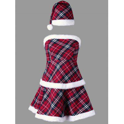 Plaid Christmas Trim Strapless Dress with Hat