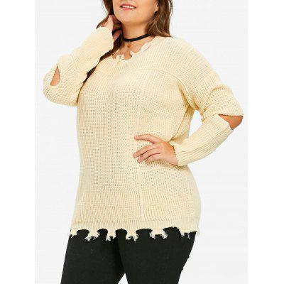 Elbow Cut Out Plus Size Sweater