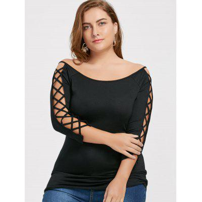 Lattice Cut Out Sleeve Plus Size TopPlus Size Tops<br>Lattice Cut Out Sleeve Plus Size Top<br><br>Collar: Off The Shoulder<br>Material: Cotton Blends, Spandex<br>Package Contents: 1 x Top<br>Pattern Type: Solid<br>Season: Fall, Spring<br>Shirt Length: Regular<br>Sleeve Length: Three Quarter<br>Style: Fashion<br>Weight: 0.2560kg
