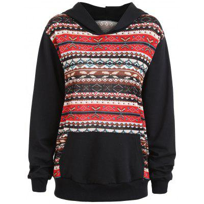 Plus Size Fair Isle Panel Kangaroo Pocket Hoodie