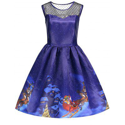 Buy BLUE L Christmas Print Mesh Insert Flare Vintage Dress for $28.16 in GearBest store