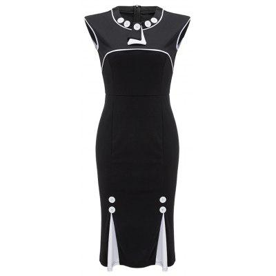 Button Embellished Two Tone Bodycon Dress