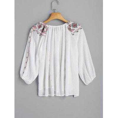 Embroidered BlouseBlouses<br>Embroidered Blouse<br><br>Collar: Scoop Neck<br>Material: Polyester<br>Occasion: Casual<br>Package Contents: 1 x Blouse<br>Pattern Type: Others<br>Shirt Length: Regular<br>Sleeve Length: Three Quarter<br>Style: Casual<br>Weight: 0.2300kg
