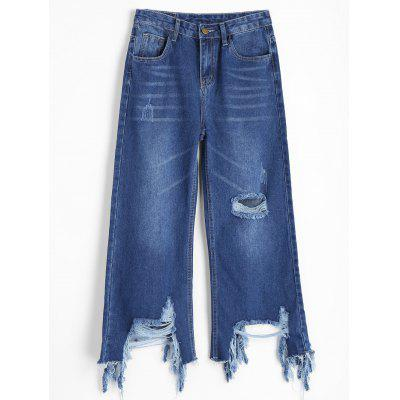 Buy DENIM BLUE M Distressed Frayed Wide Leg Jeans for $32.95 in GearBest store
