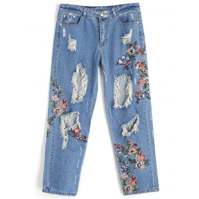 Distressed Embroidery Jeans