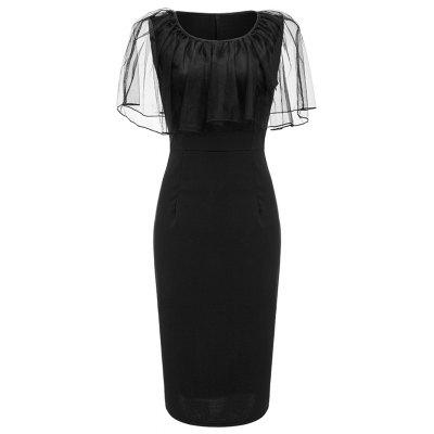 Buy BLACK 2XL Mesh Bertha Collar Bodycon Dress for $24.88 in GearBest store