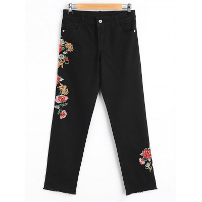 Buy BLACK M Frayed Floral Embridered Tapered Jeans for $35.49 in GearBest store