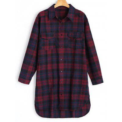 Checked Flannel High Low Shirt
