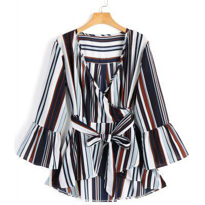 Low Cut Flare Sleeve Striped Belted Blouse
