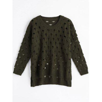 Ripped High Low Cut Out Sweater