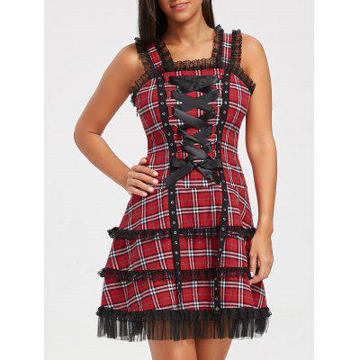 Square Neck Palid Lace Up Dress