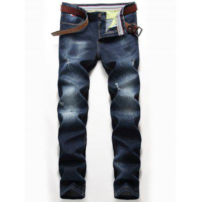 Distressed Zip Fly Straight Jeans