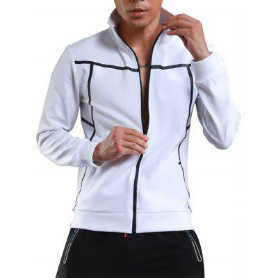 Stand Collar Zip Up Sports Athletic Jacket