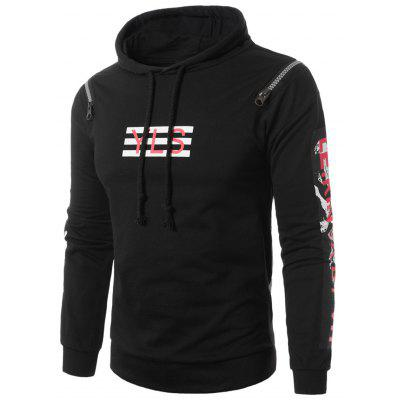 Buy Hooded Zipper Design Figure Graphic Print Pullover Hoodie, BLACK, M, Apparel, Men's Clothing, Men's Hoodies & Sweatshirts for $46.09 in GearBest store