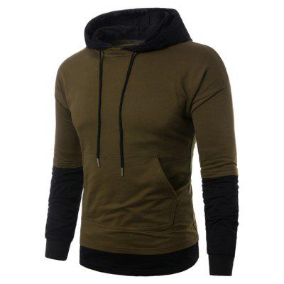 Hooded Faux Twinset Panel Pouch Pullover Hoodie Pullover