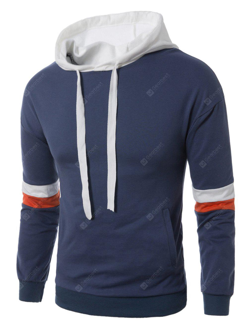 Hooded Color Block Panel Drawstring Pullover Hoodie