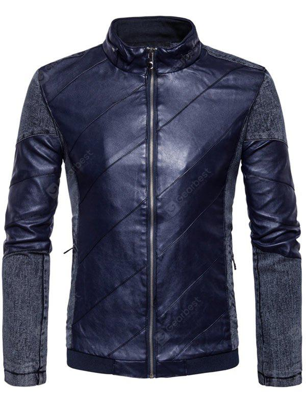Zip Up Faux Leather Panel Jacket