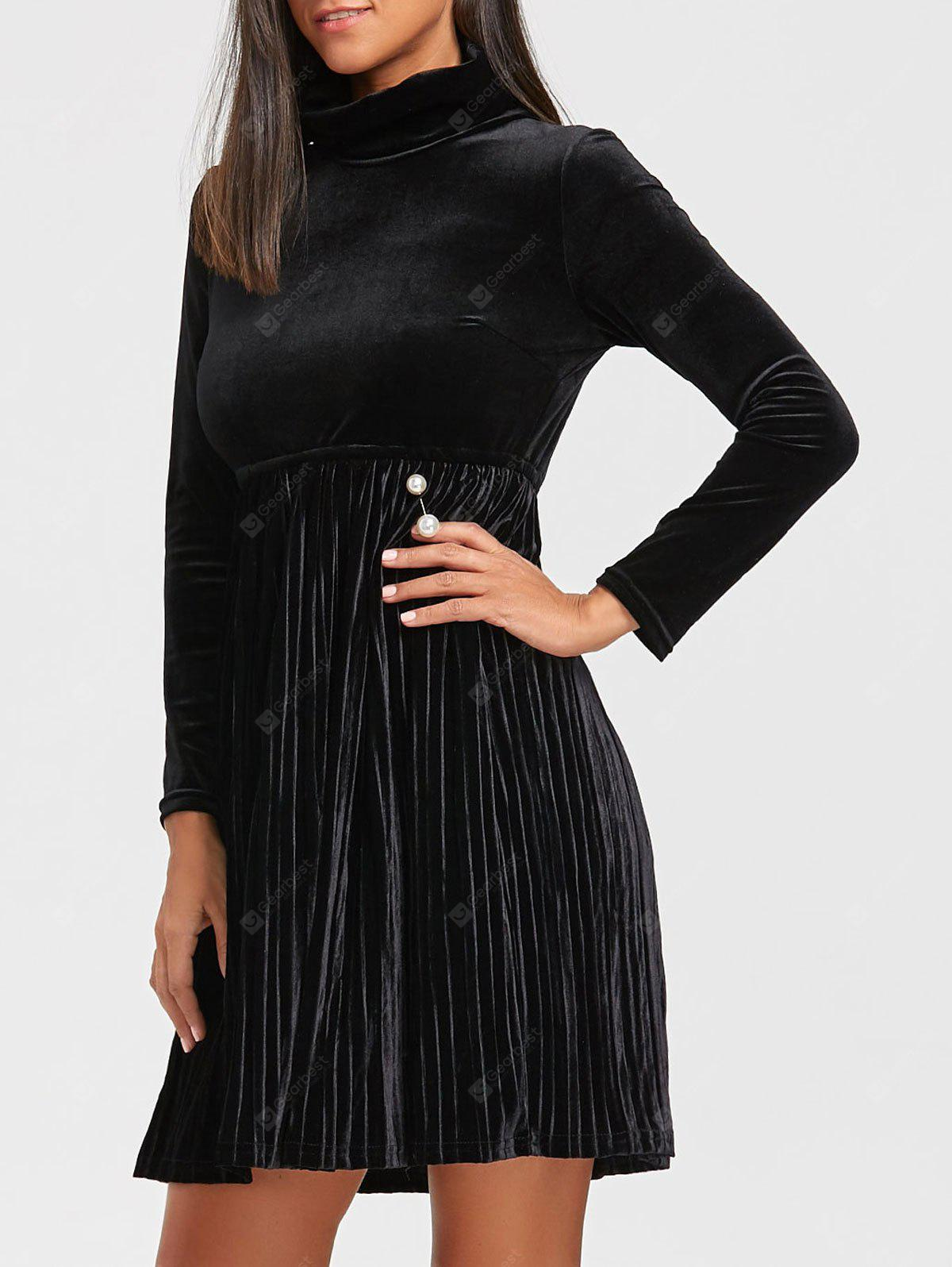 Turtleneck Long Sleeve Velvet Mini Pleated Dress